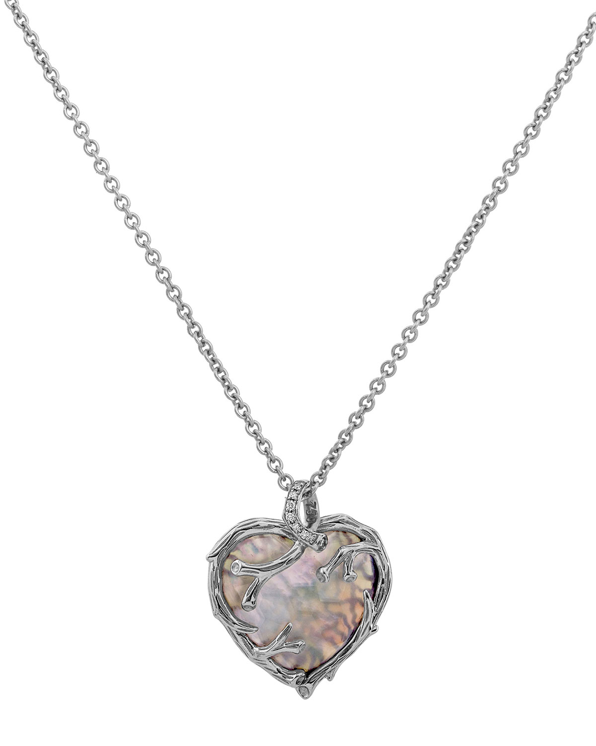 Enchanted Forest Twig Heart Necklace w/ Mother-of-Pearl