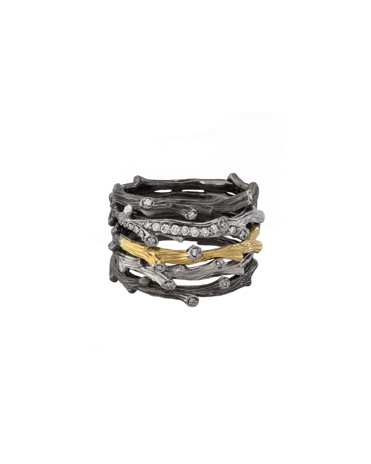 Enchanted Forest Multi-Row Ring w/ Diamonds