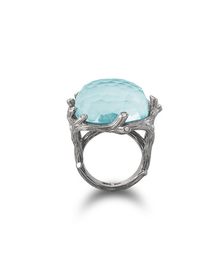 Michael Aram Enchanted Forest Turquoise & Diamond Ring, Size 7