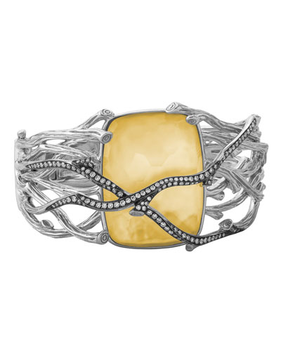 Enchanted Forest Twig Crossover Bangle w/ 18k Gold