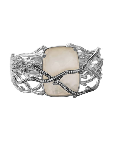 Enchanted Forest Twig Crossover Bangle w/ Mother-of-Pearl