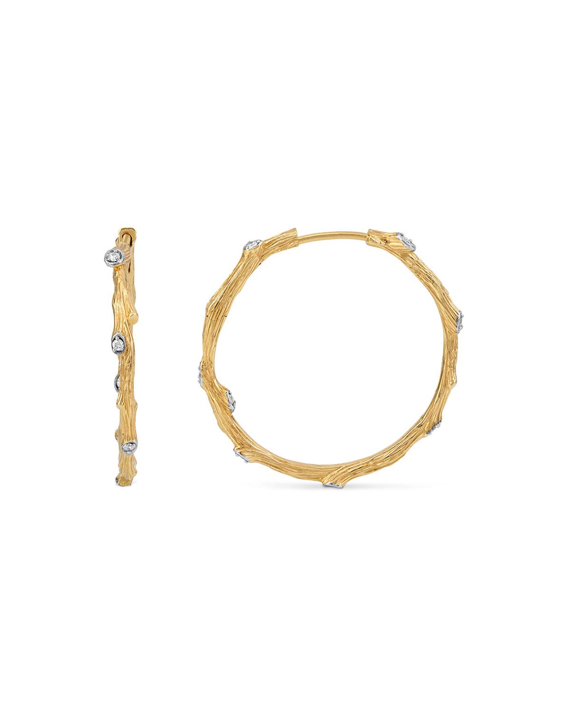 18K Enchanted Forest Twig Hoop Earrings W/ Diamonds