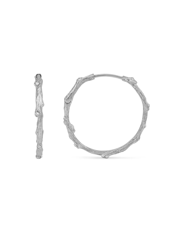 Enchanted Forest Silver Twig Hoop Earrings w/ Diamonds