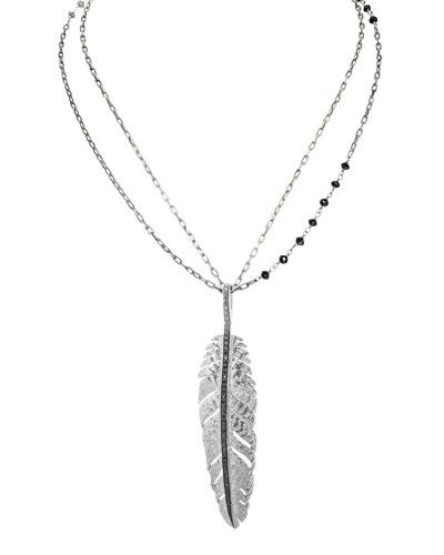 Feather Pendant Necklace w/ Diamonds