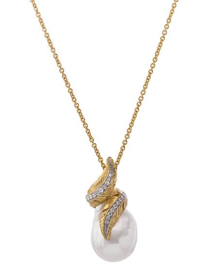 Michael Aram 18k Feather Wrap Necklace w/ Pearl & Diamonds