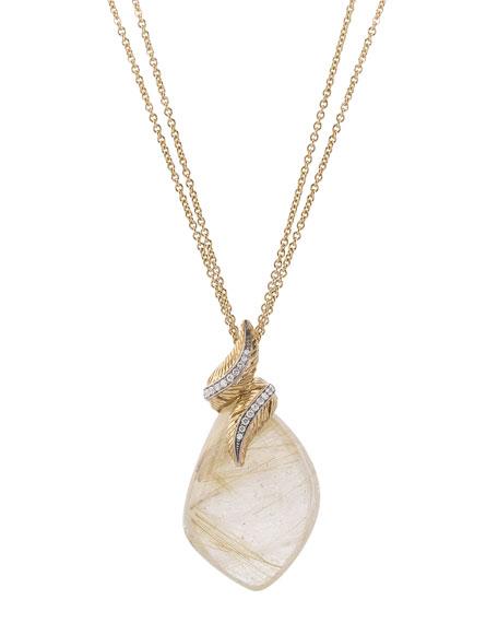 Michael Aram 18k Feather Wrap Necklace w/ Quartz & Diamonds