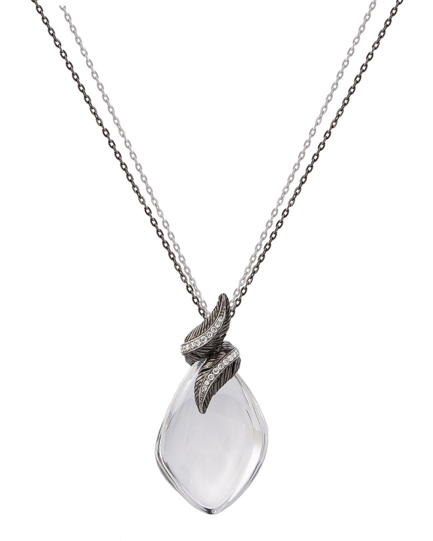 Feather Wrap Necklace w/ Crystal & Diamonds