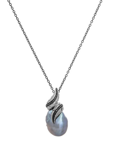 Feather Wrap Necklace w/ Pearl & Diamonds