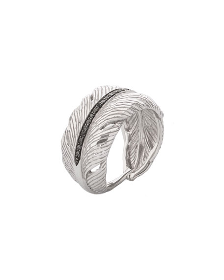 Michael Aram Silver Feather Diamond Cuff Ring, Size 7