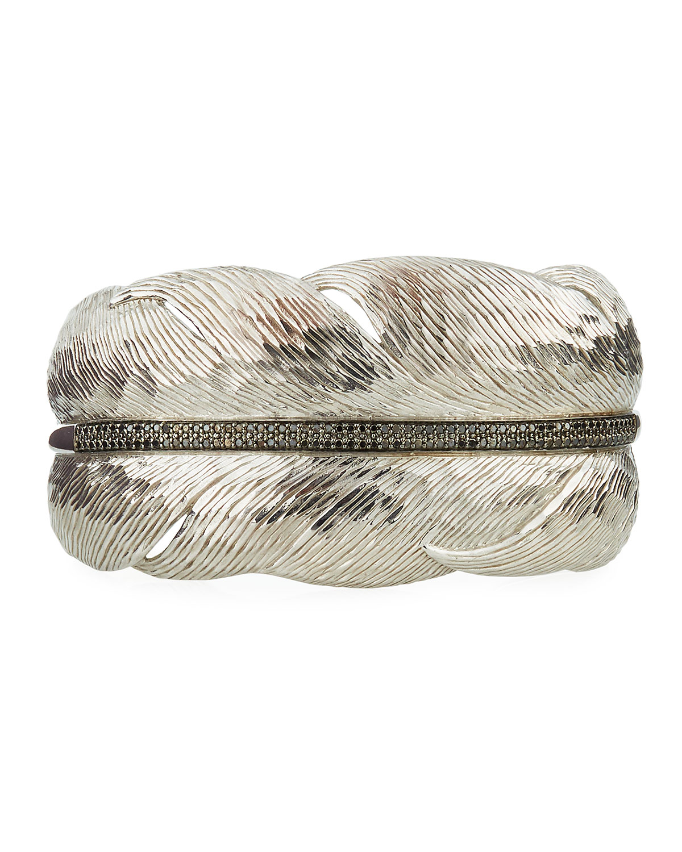 Wide Feather Cuff Bracelet w/ Diamonds