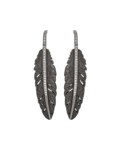 Feather Drop Earrings w/ Diamonds