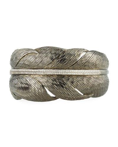 Feather Black Cuff Bracelet w/ Diamonds