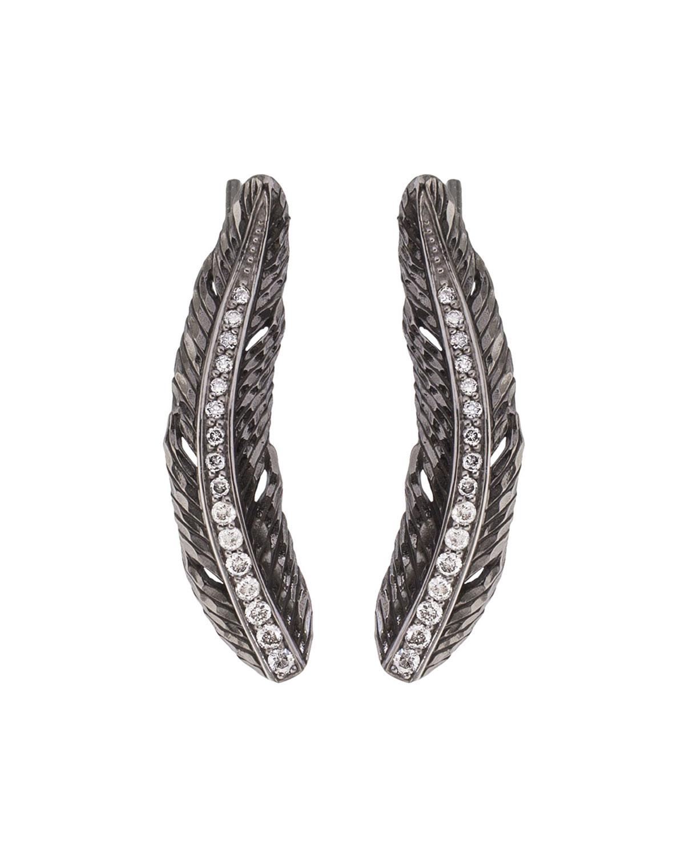 Feather Vine Earrings W/ Diamonds