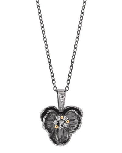 Black Medium Orchid Pendant Necklace w/ Diamonds