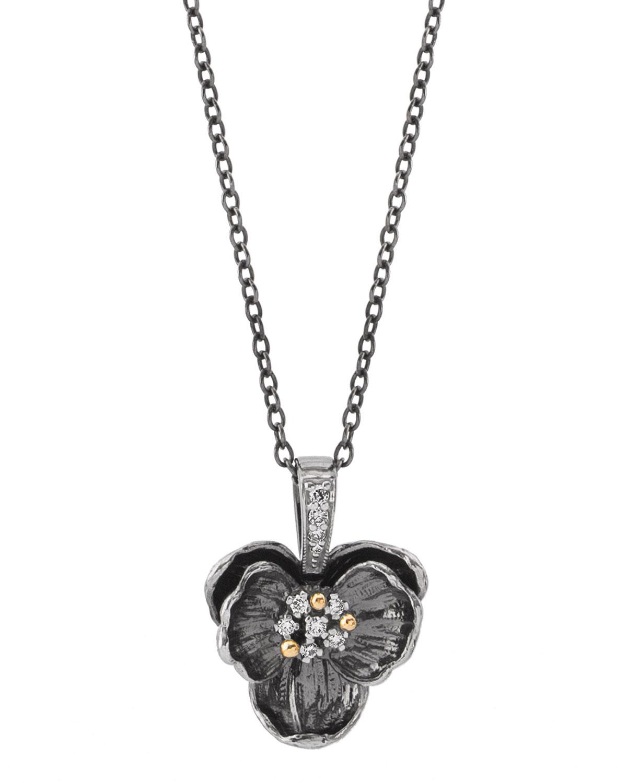 Black Medium Orchid Pendant Necklace w/ Diamonds