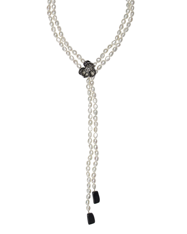 MICHAEL ARAM BLACK ORCHID PEARL LARIAT W/ DIAMONDS