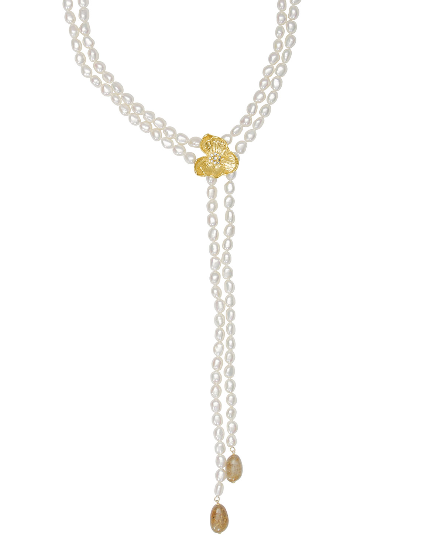 18k Orchid Pearl Lariat w/ Diamonds