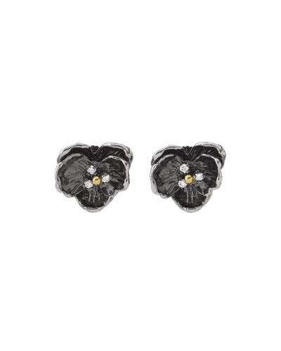 Orchid Small Stud Earrings w/ Diamonds