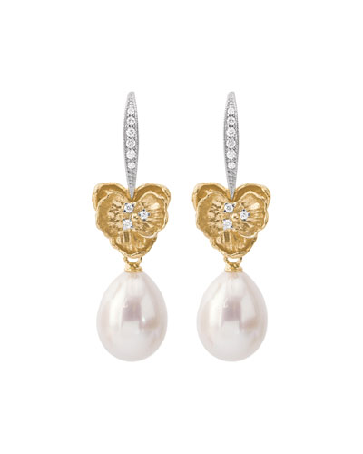 18k Orchid Pearl & Diamond Drop Earrings