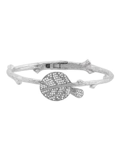 Botanical Leaf Bangle in Sterling Silver & Diamonds