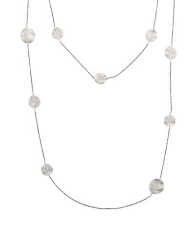 Botanical Leaf Long Diamond Station Rhodium Necklace, 36