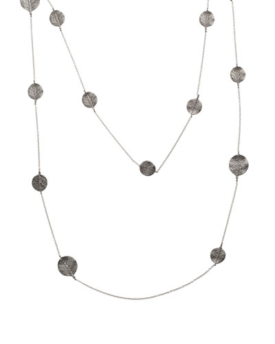 Botanical Leaf Long Black Diamond Station Necklace, 36