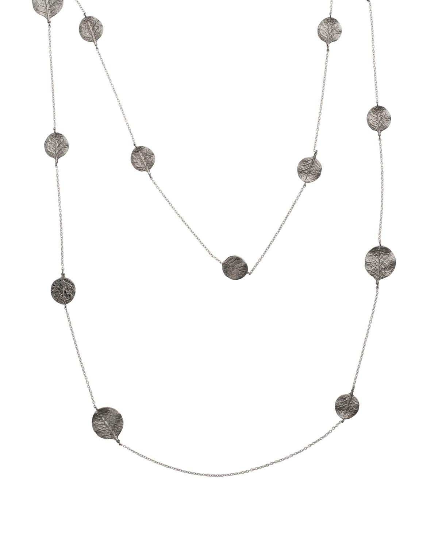 Botanical Leaf Long Black Diamond Station Necklace
