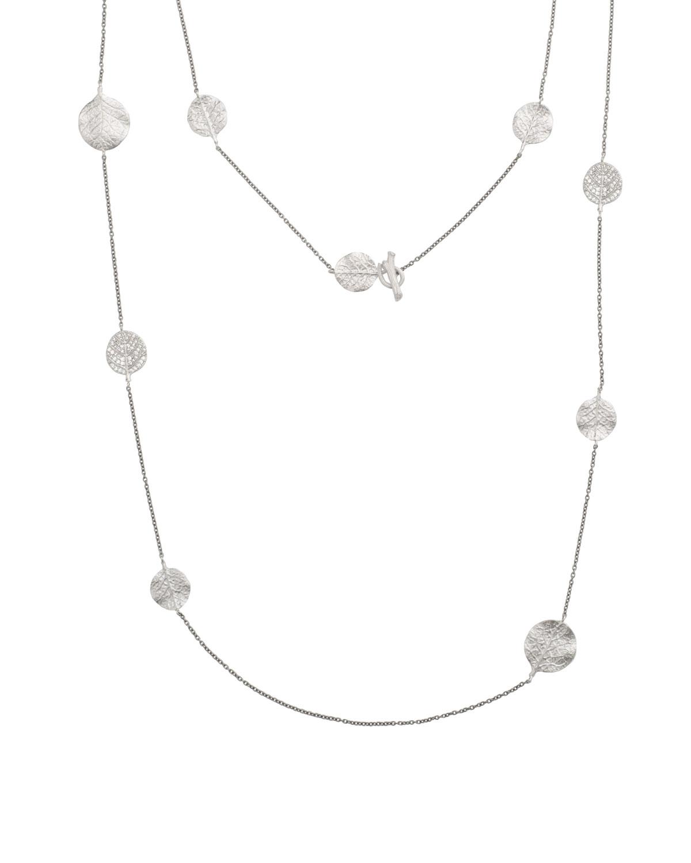 Botanical Leaf Long Diamond Station Rhodium Necklace