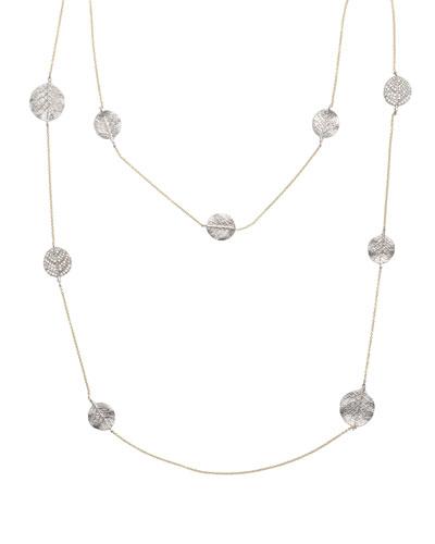 Botanical Leaf Long Diamond Station Necklace, 42
