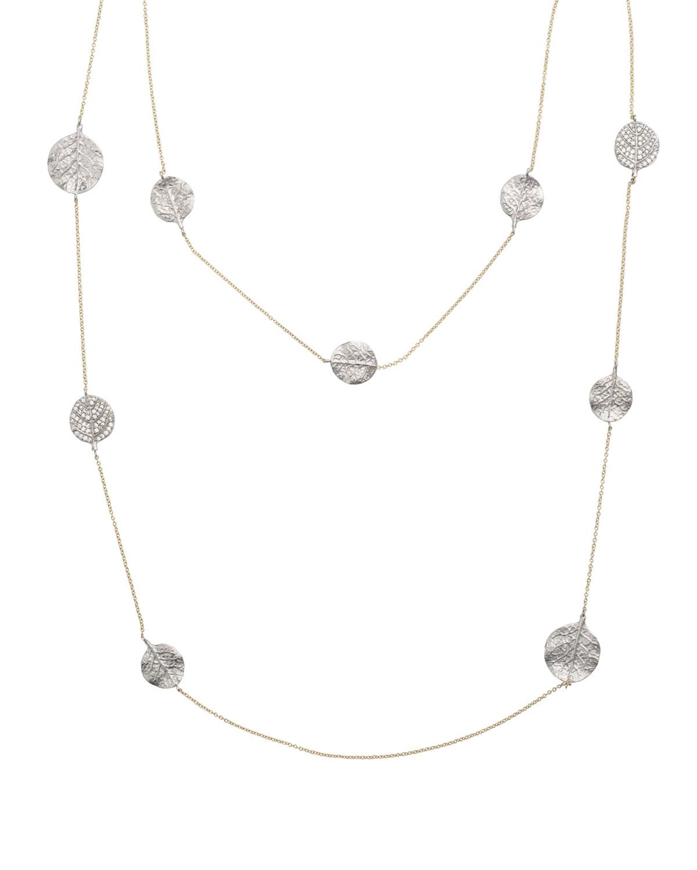 Botanical Leaf Long Diamond Station Necklace