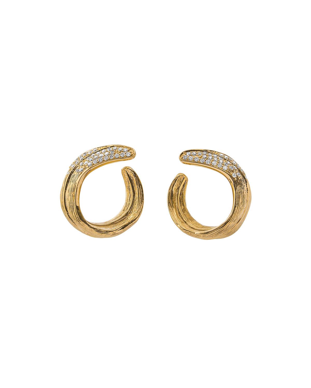 18K Palm Crescent Earrings W/ Diamonds