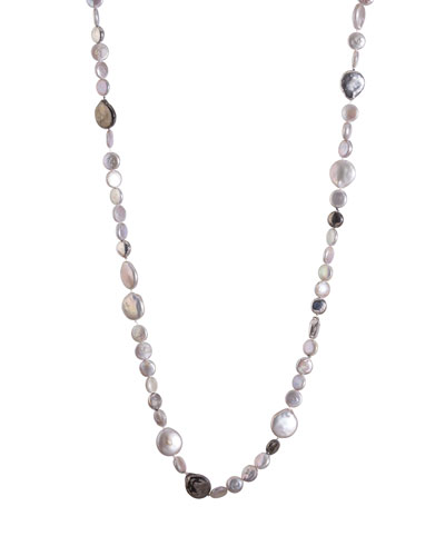 Molten Long Necklace w/ Gray Freshwater Pearls, 32