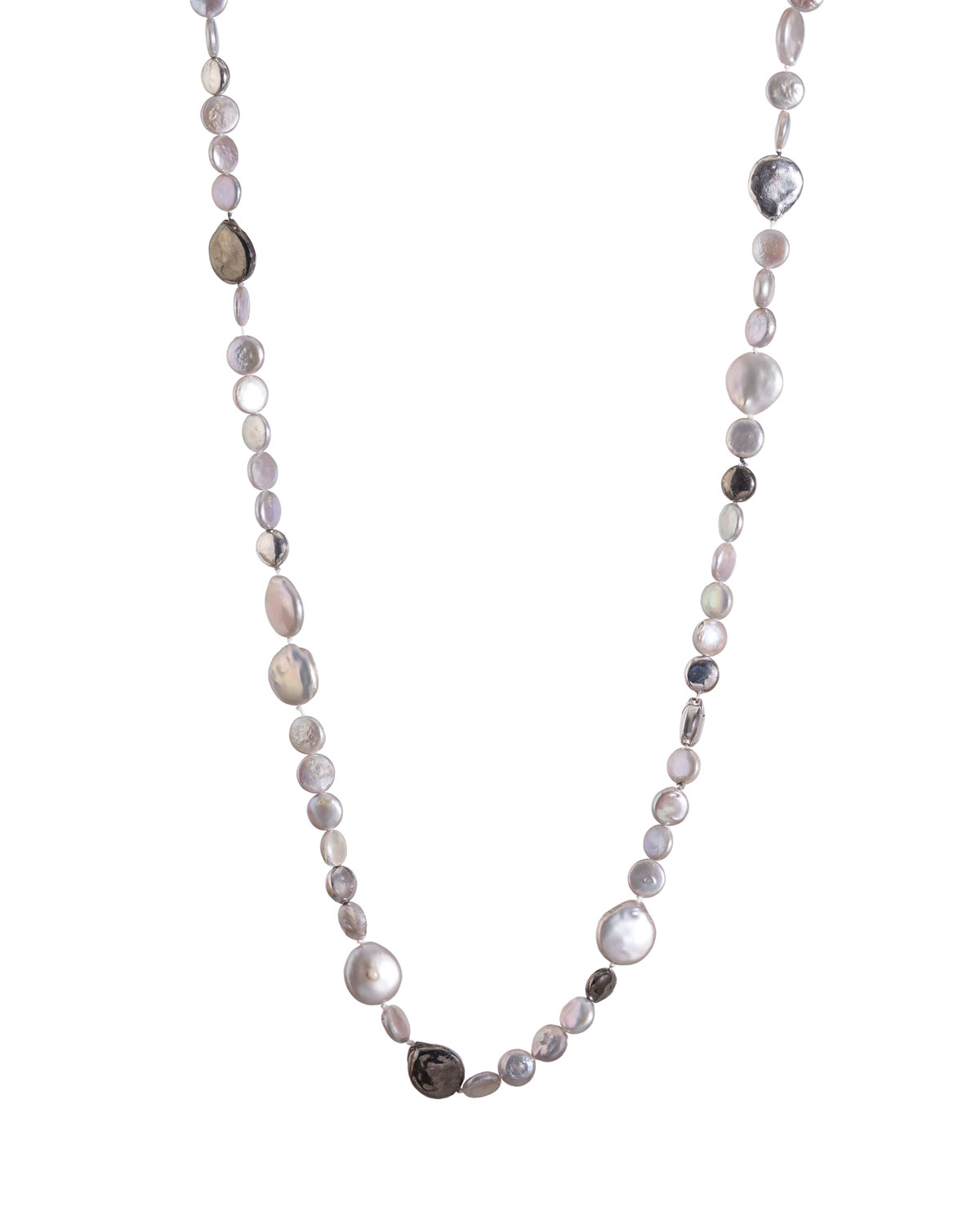 """MICHAEL ARAM MOLTEN LONG NECKLACE W/ GRAY FRESHWATER PEARLS, 32"""""""
