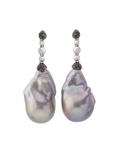 Molten Drop Earrings w/ Gray Baroque Pearls