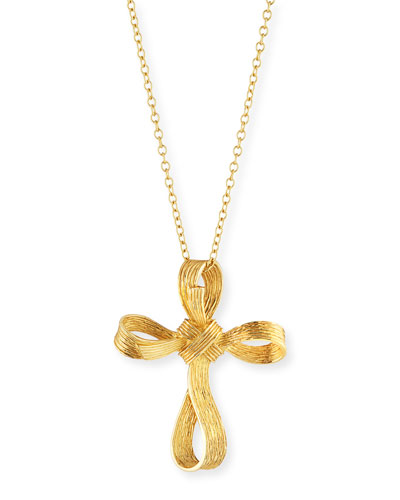 18k Palm Medium Cross Pendant Necklace