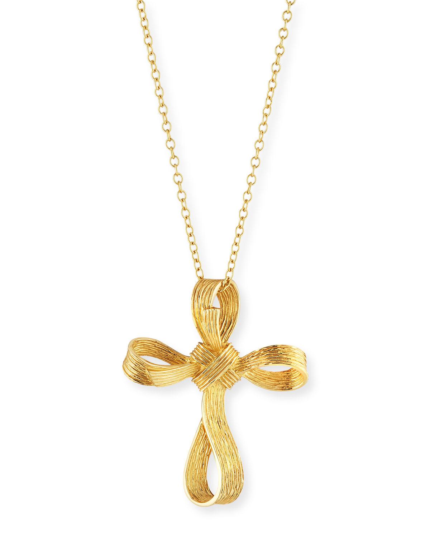 18K Palm Medium Cross Pendant Necklace