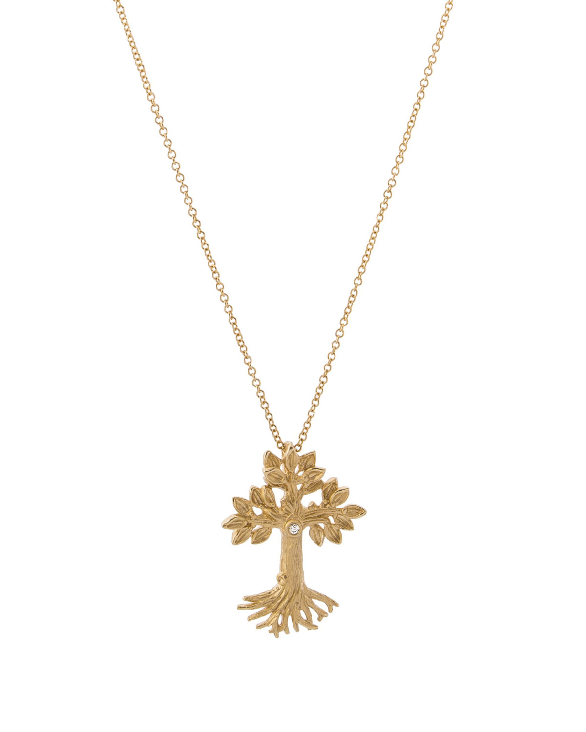 ARMENIAN TREE OF LIFE CROSS PENDANT NECKLACE IN 18K YELLOW GOLD