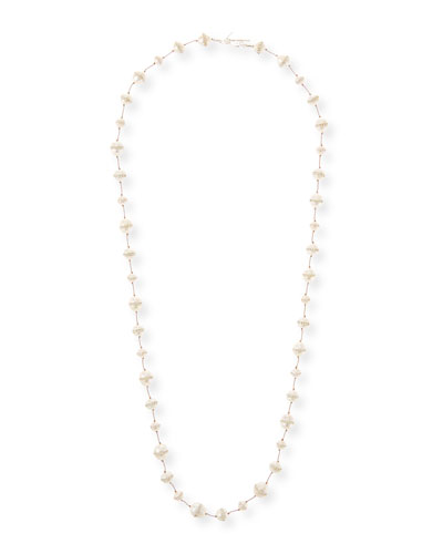 Crystal-Inlay Freshwater Pearl Strand Necklace, 34