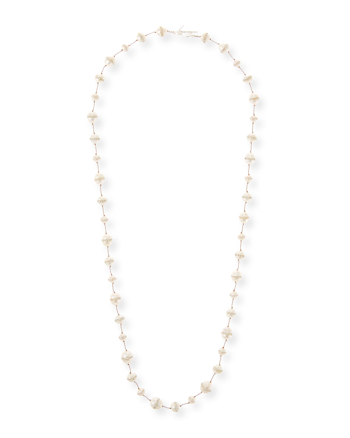 """MARGO MORRISON CRYSTAL-INLAY FRESHWATER PEARL STRAND NECKLACE, 34"""""""