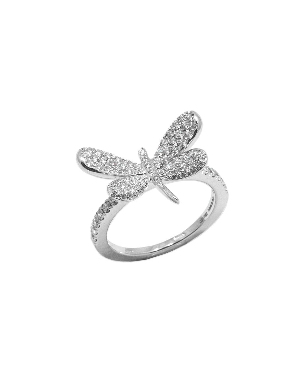 STAURINO FRATELLI 18K White Gold Nature Diamond Dragonfly Ring, Size 6.5