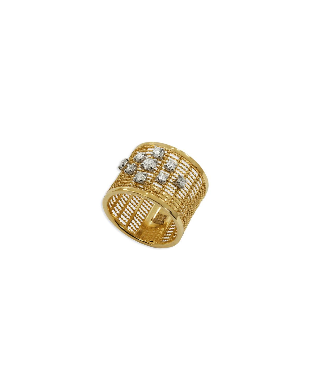 STAURINO FRATELLI 18K Gold Renaissance Dancing Diamond Ring, Size 7
