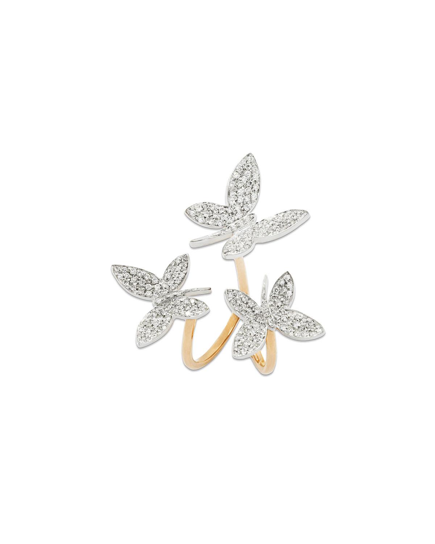 STAURINO FRATELLI 18K ROSE GOLD NATURE TRIPLE DIAMOND BUTTERFLY RING