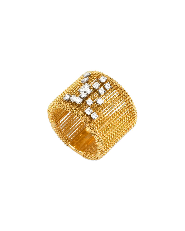 STAURINO FRATELLI 18K Gold Renaissance Dancing Diamond Ring, Size 7.5