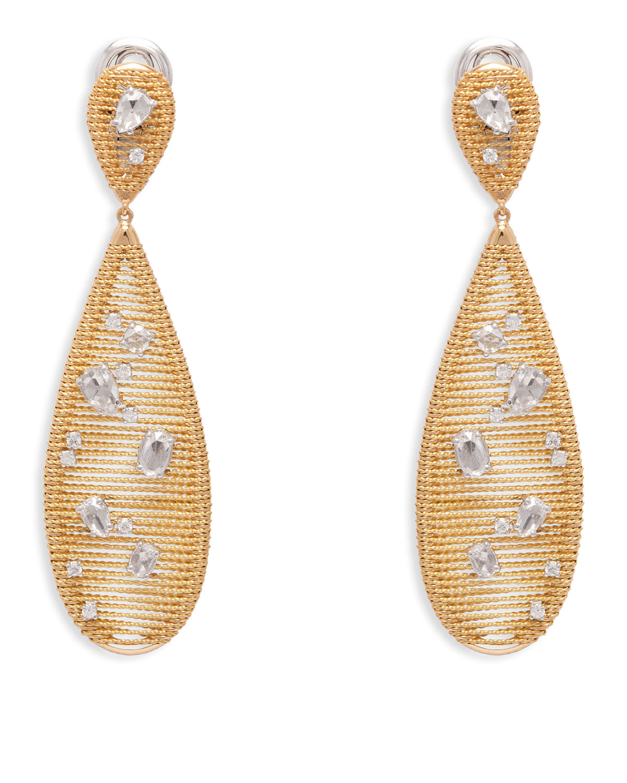 STAURINO FRATELLI 18K YELLOW GOLD RENAISSANCE DIAMOND PEAR DROP EARRINGS