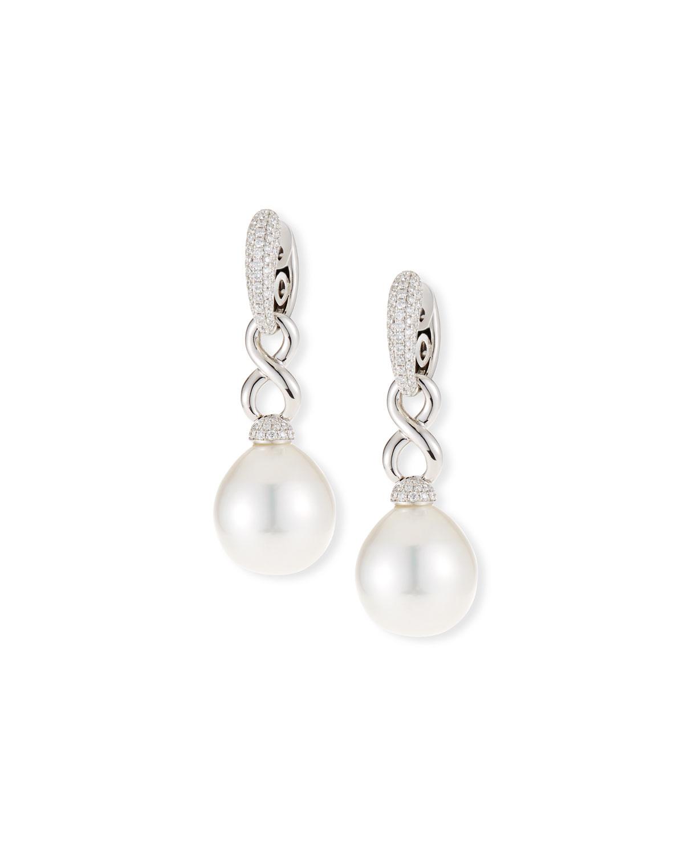 BELPEARL 18K Twisted Diamond Pave South Sea Pearl Drop Earrings