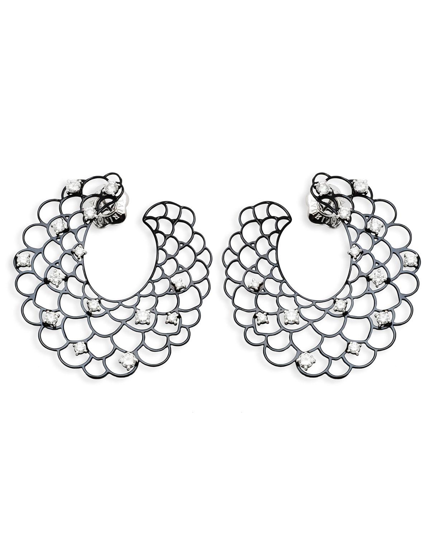 STAURINO FRATELLI 18K White Gold Open Diamond Crescent Earrings