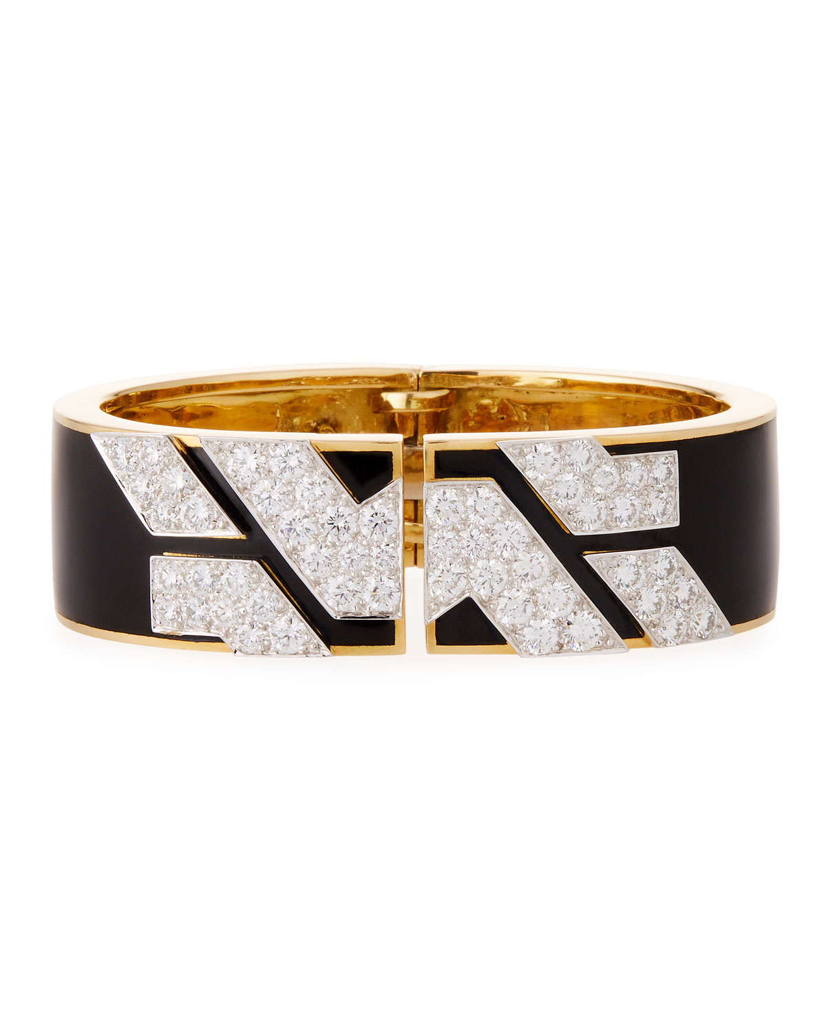 Manhattan 18k Gold Diamond Cuff Bracelet in Black Enamel