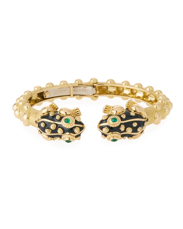 18K Gold Baby Frog Cuff Bracelet In Black Enamel