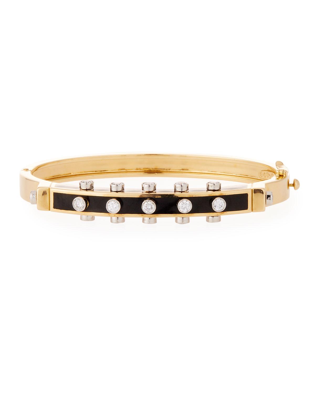 """""Motif"" Studlette 18k Gold & Enamel Bangle Bracelet with Platinum-Set Diamonds"