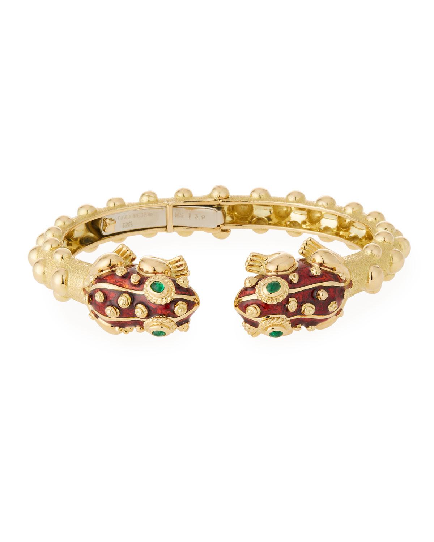 18K Gold Baby Frog Cuff Bracelet In Red Enamel